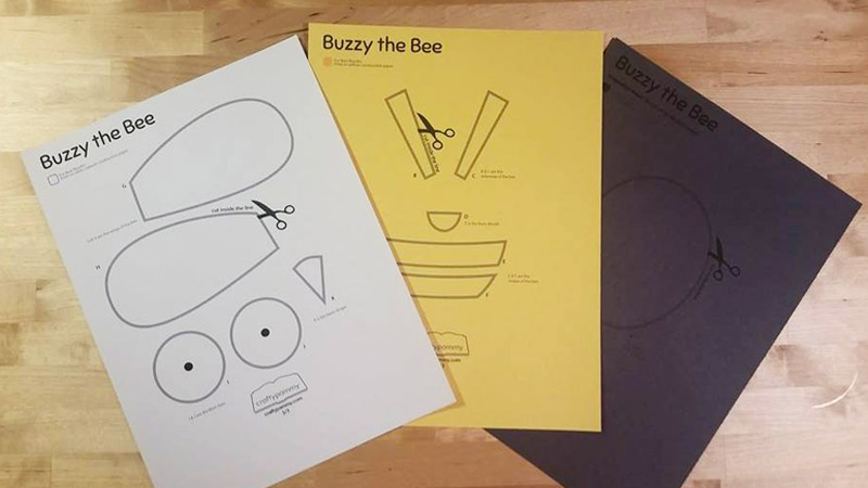 Printed Buzzy the Bee Craft Template at Craftypammy.com