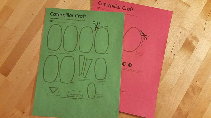 Print free caterpillar craft template for kids at craftypammy.com