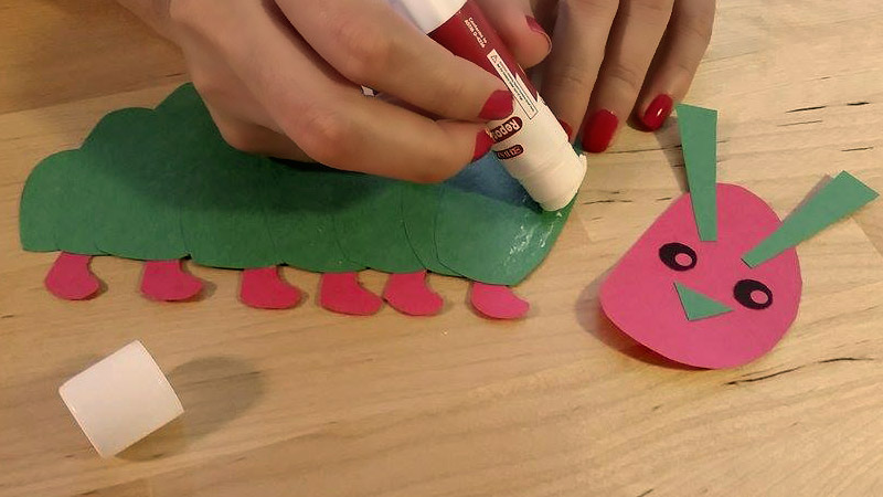 Glue the Caterpillar Craft Shapes together!
