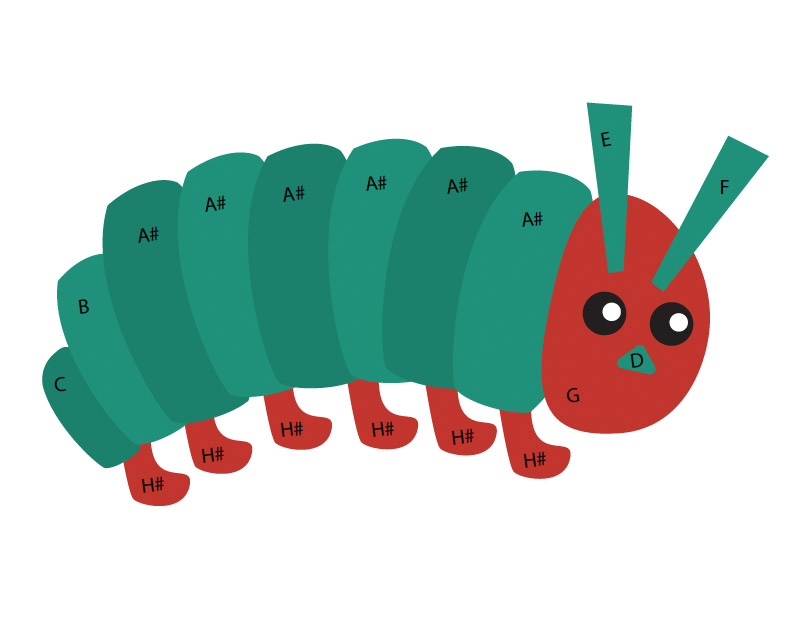 Print the Caterpillar Craft Preview to Guide you on how to glue the pieces to together