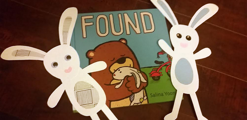 "Children's Book ""Found"" by Salina Yoon and 2 floppy the bunny crafts"