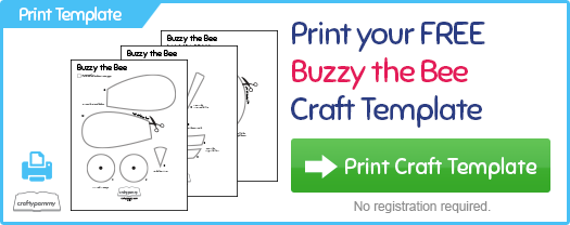 Print your free Buzzy the Bee Craft Template at CraftyPammy.com