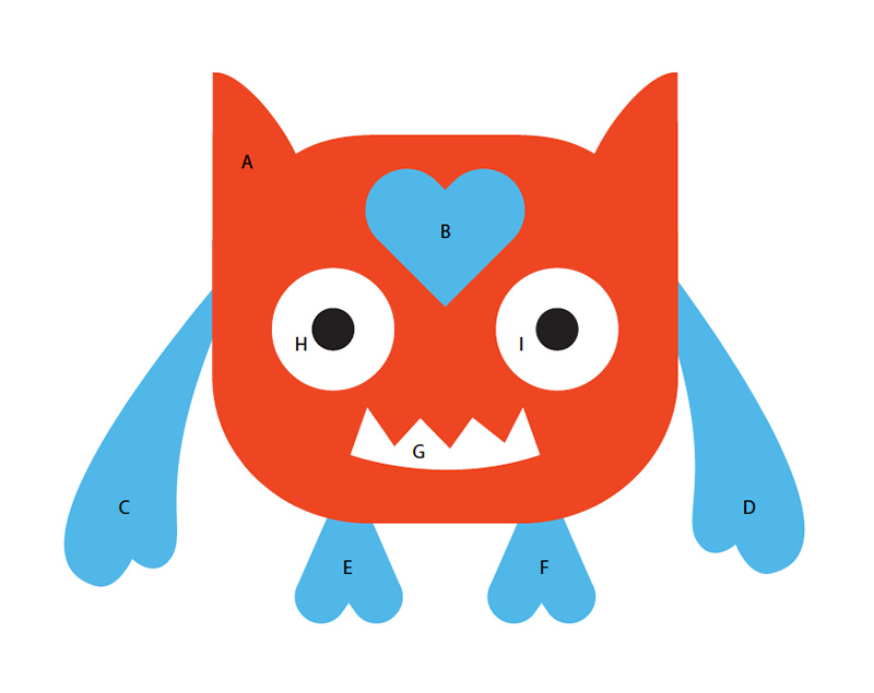 Print the Love Monster valentine craft Preview to help guide you while gluing the craft together