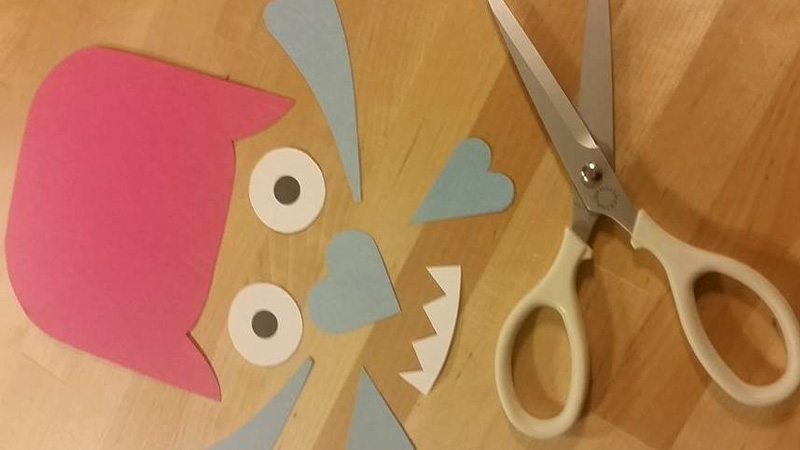 Shapes and pieces of the Love Monster valentine Craft