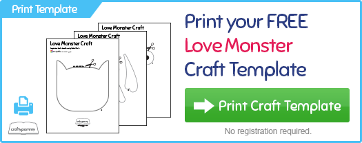 Print a free Love Monster Valentine Craft Template at CraftyPammy.com