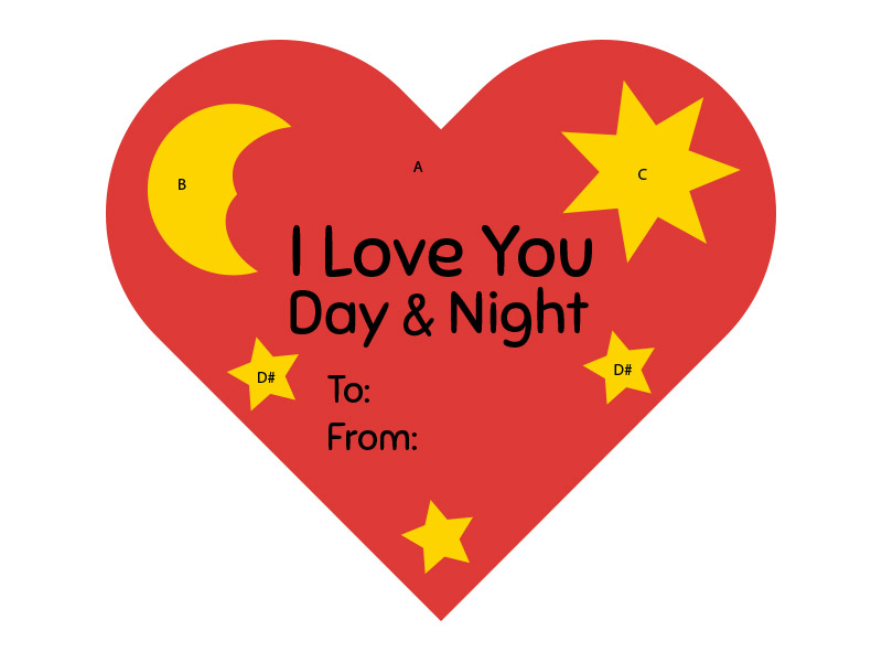 I Love you Night & Day Valentines Heart Craft Preview Guide